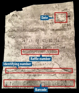 This purports to be a copy of the 'winning' ticket she has submitted.  The family took a photocopy of it (which I know happened) before sending the original off to Camelot.  A tipster has given us this, saying it is a picture of that copy.  The newsagent's wife, who saw the original ticket, agrees that this image appears to be of the same ticket.  The newsagent himself would not say 100 per cent that it was the ticket, saying he didn't examine the original ticket in minute detail, but he points out that the '16' visible (for 2016) in the top right corner is just as the date appeared on the ticket presented to him in the shop on Friday by Miss Hinte.  As long as we say allege that this is an image of the winning ticket, rather than state is as absolute fact, I think we'll be ok, although it'll be for the lawyer to decide, obviously...